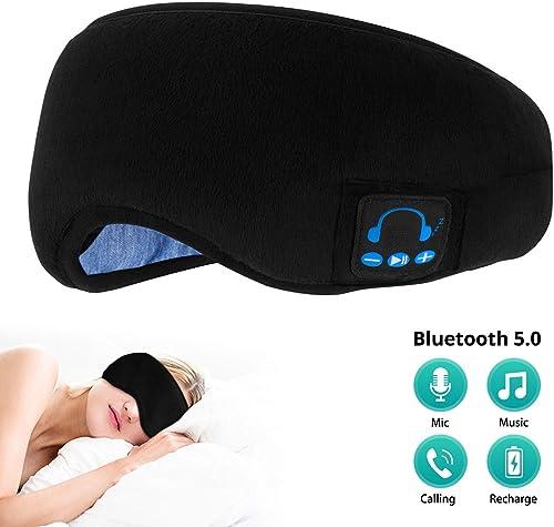 SYOSIN Bluetooth Sleeping Eye Mask, Sleep Headphones Bluetooth Wireless with Built -in Speakers Microphone, Comfortable Breathable Adjustable Washable Eye Mask for Sleep Travel Nap
