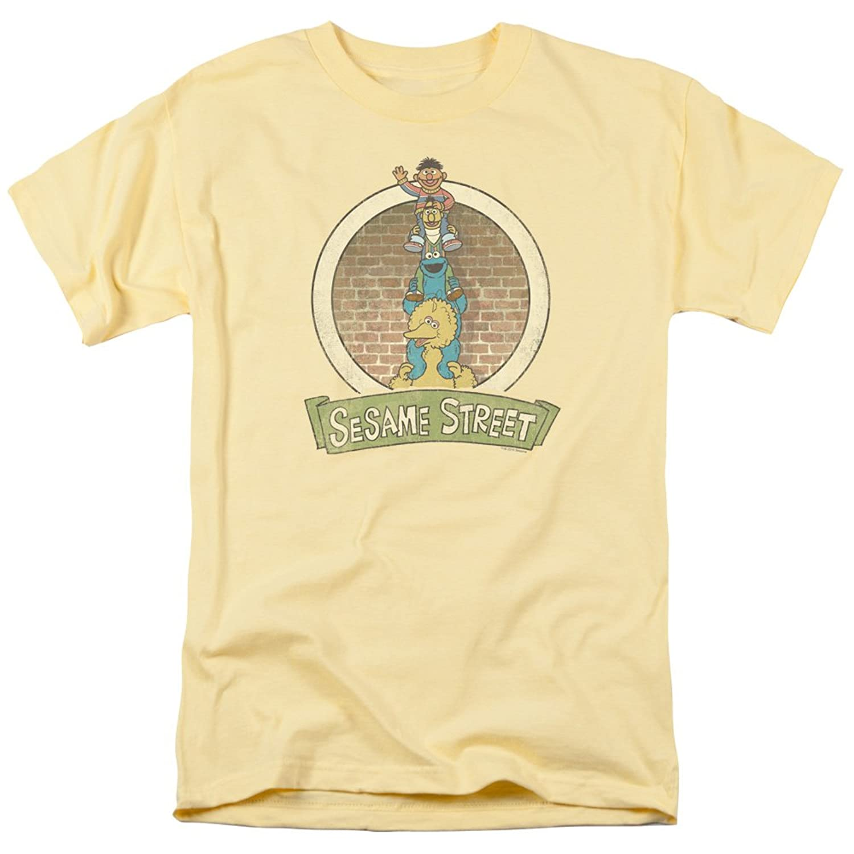Sesame Street Classic Kid's TV Show On Big Bird's Shoulders Adult T-Shirt Tee