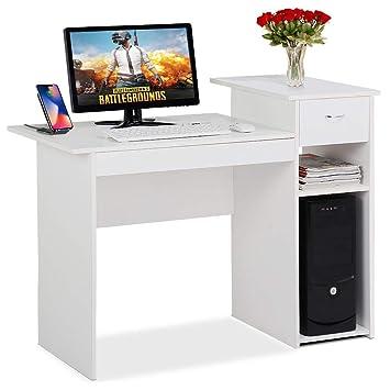 Yaheetech Scrivania Computer con Cassetto Moderna da Cameretta Ufficio  Studio Scrivania Porta pc Bianca