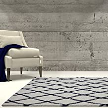 "Ladole Rugs Geometric Trellis Simple Syle Carpet Comfortable Area Rug Carpet in Ivory-Navy Blue 7x10 (6'5"" x 9'5"", 200cm x 290cm)"