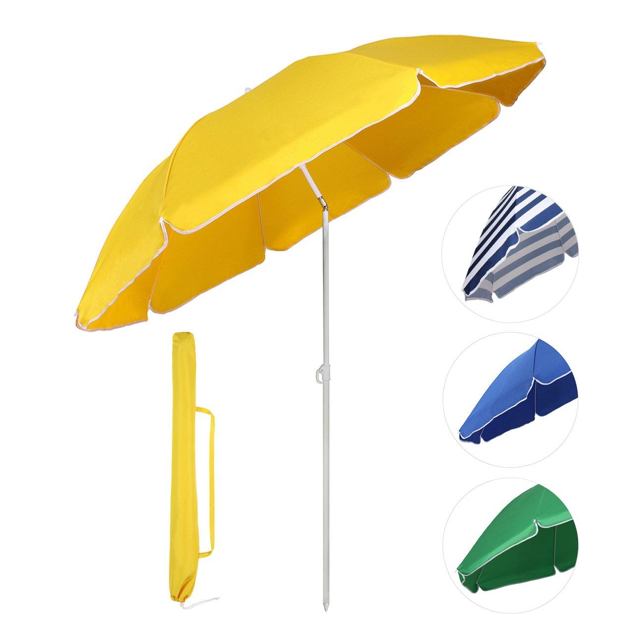 Sekey® Sonnenschirm Ø 160 Cm Marktschirm Gartenschirm Terrassenschirm Gelb  Rund Sonnenschutz UV20+ Design