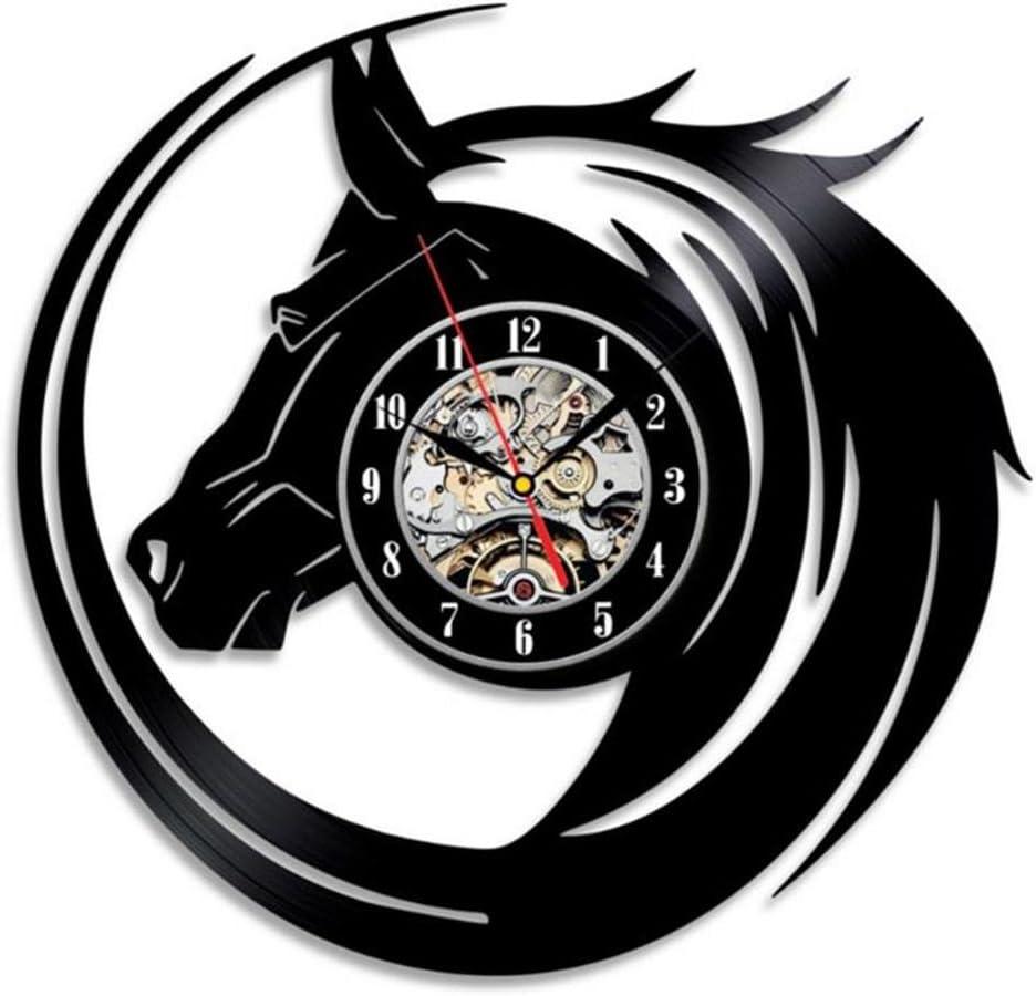 GuoYa-3D negro hueco caballo totem reloj de vinilo reloj creativo hogar restaurante arte reloj de pared decorativos
