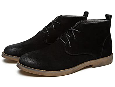 Santimon Mens Chukka Leather Desert Boots Stylish Lace Up Sueded Outdoor Ankle Round Toe Retro Causal  B073P7JP61