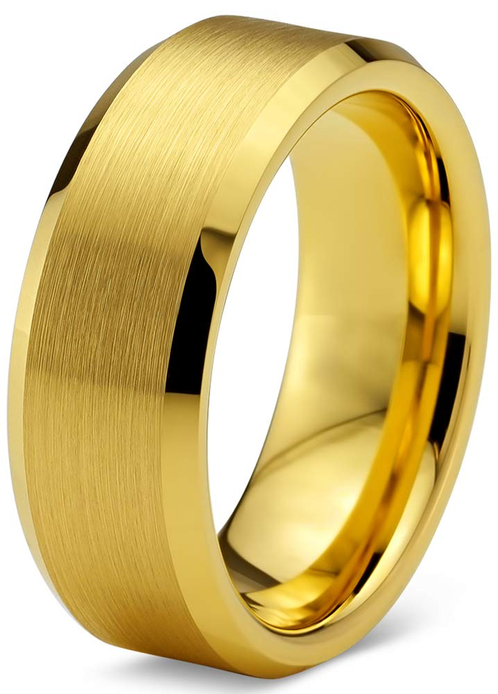 Charming Jewelers Tungsten Wedding Band Ring 8mm Men Women Comfort Fit 18k Yellow Gold Plated Bevel Edge Polished Size 8