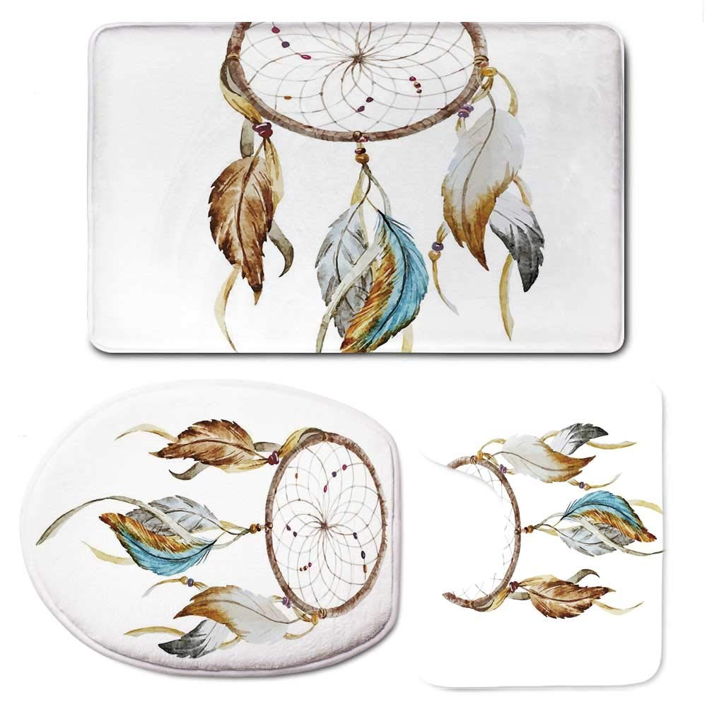 YOLIYANA Feather Soft Bathroom 3 Piece Mat Set,Native American Watercolor Style Ornament Dream Catcher Ethnic Tribal Elements for Home. by YOLIYANA