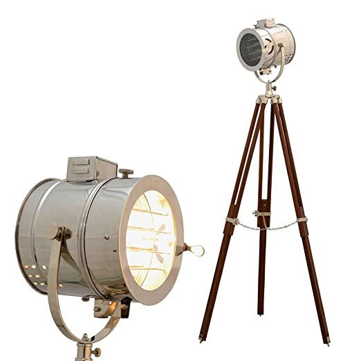 Hollywood Studio Spotlight Searchligh Brown Tripod Floor Lamp Home U0026 Office  Decor
