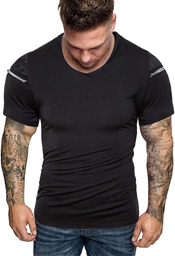 Men Slim Fit O Neck Short Sleeve Gym Muscle Tee Shirt T-shirt Casual Tops Blouse