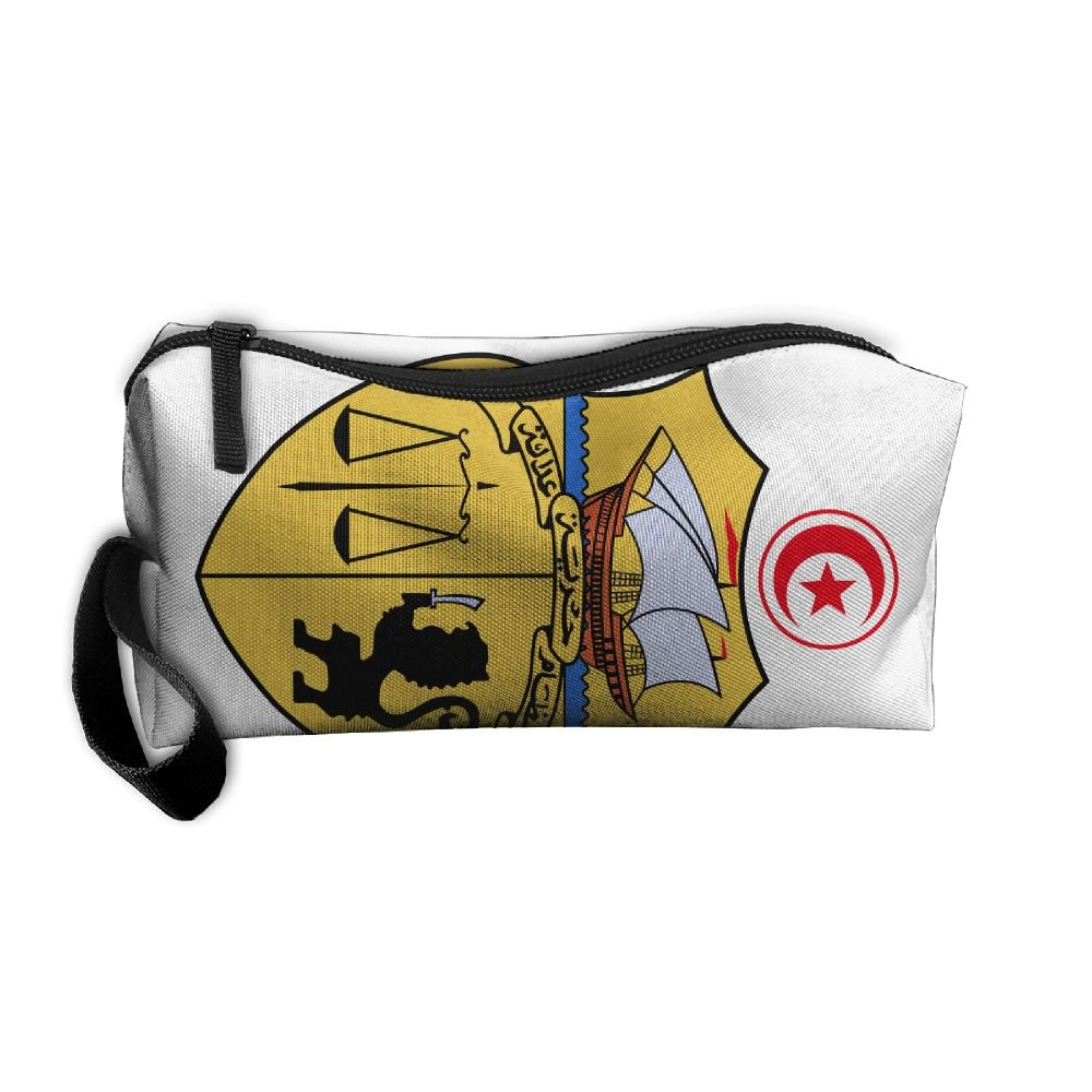 HSs4AD Coat Of Arms Of Tunisia Cosmetic Bag Travel Toiletry Bag Portable Makeup Pouch Hanging Organizer Bag