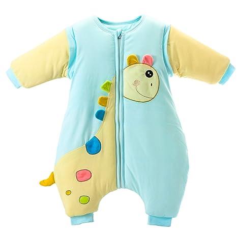Saco de Dormir para bebé con piernas, cálido Forro de algodón de Invierno y Manga Desmontable. Azul Blue / 3.5 TOG Thickened Talla:M Size: 90 ...