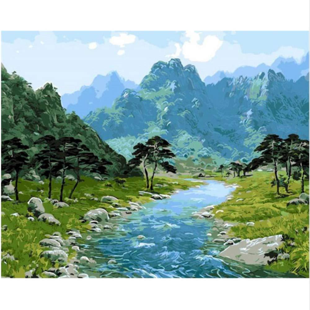 CZYYOU DIY Digital Malen Nach Nach Nach Zahlen Grüne Tal Ölgemälde Wandbild Kits Färbung Wandkunst Bild Geschenk - Mit Rahmen - 40x50cm B07PSH9619 | Zart  6429ac