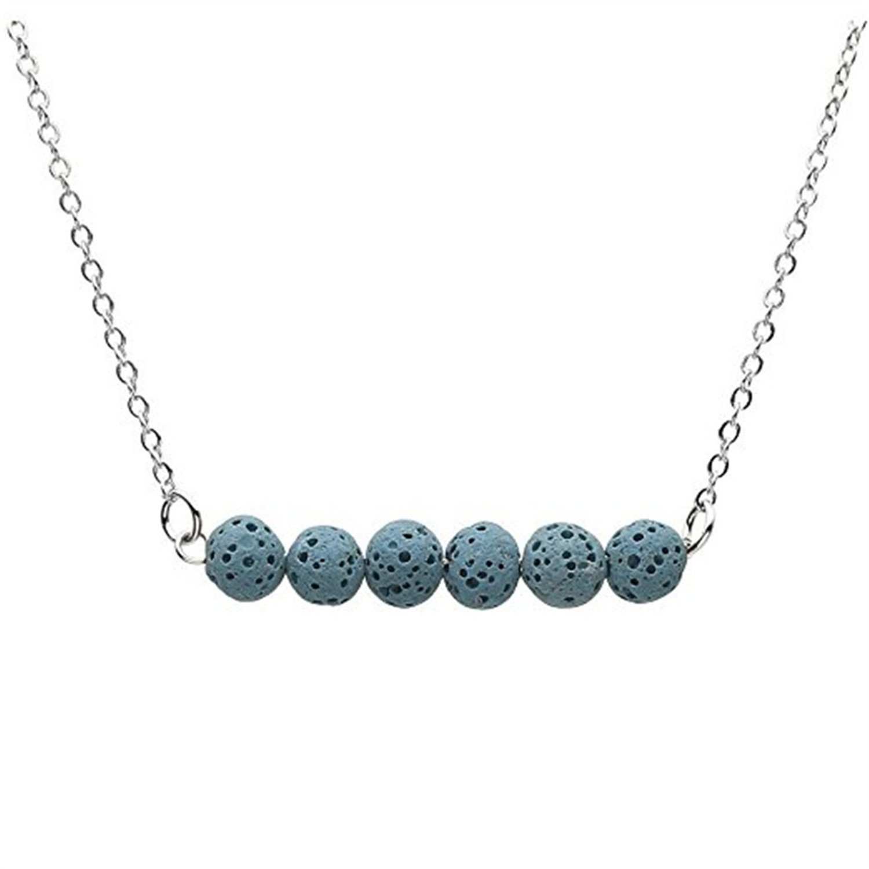 GraceAngie Black Stone Lava Bead Minimalist Essential Oil Diffuser Necklace Aromatherapy Jewelry CJ728-A+CJ401