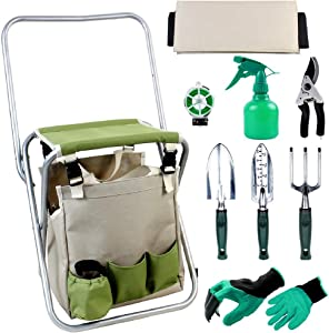 INNO STAGE Upgrade 10 Piece Garden Hand Tools Set, Collapsible Gardening Stool Seat Kit with Backrest and Detachable Storage Tote Bag for Father Mother as Gift