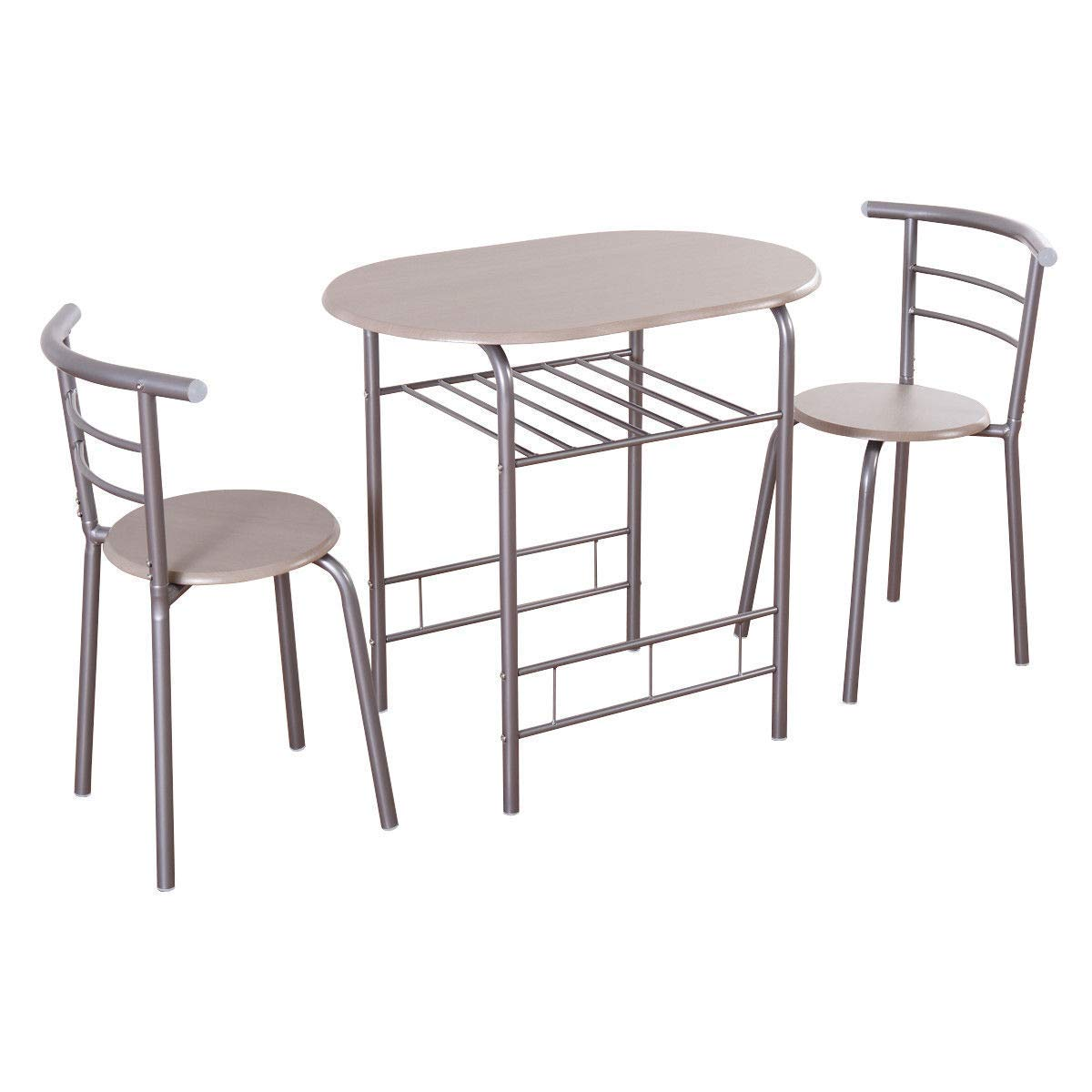 Giantex 3 Piece Dining Set Compact 2 Chairs and Table Set with Metal Frame and Shelf Storage Bistro Pub Breakfast Space Saving for Apartment and Kitchen (Beech) HW54057