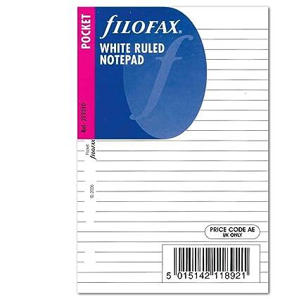 Filofax Pocket - Recambio para agenda de anillas, hojas rayadas para notas, color blanco