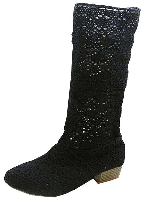 Minetom Donna Estate Autunno Traspirante Stivali Cavo Pizzo Zeppa Tacco Sandali Boots Stivaletto Basso Tacco Marrone EU 38 v7Uv8lHTa