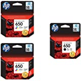 Hp Cz101ak 650 Black Ink Cartridge And Cz102ak 650 Tri Color Ink Cartridges, 2 Pieces