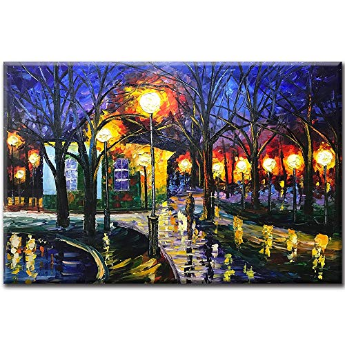 (Asdam Art Canvas Painting,24x36 Inch Oil Paintings on Canvas Art Contemporary Artwork Abstract Artwork Night Rainy Street Wall Art livingroom Bedroom Dinning Room Decorative Pictures Home Decor)