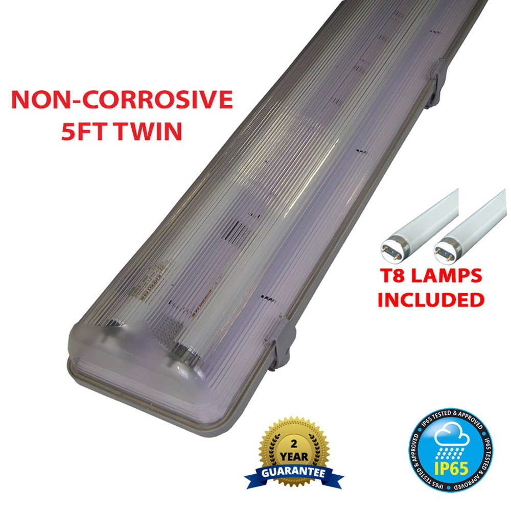 5FT TWIN 58 WATT NON CORROSIVE WEATHERPROOF FLUORESCENT LIGHT FITTING (INCLUDES TUBES) - IP65 - WEATHERPROOF OUTDOOR STRIP LIGHT - IDEAL FOR GARAGES, WORKSHOP, SHEDS, GREENHOUSES OR COMMERCIAL APPLICATIONS - STURDY CONSTRUCTION - POLYCARBONATE DIFFUSER -