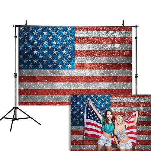 Allenjoy 7x5ft Glitter American Flag 4th of July Backdrop USA Patriotic Independence Day Photography Background Veterans Memorial National Day Decoration Party Banner Selfie Photo Booth Props]()