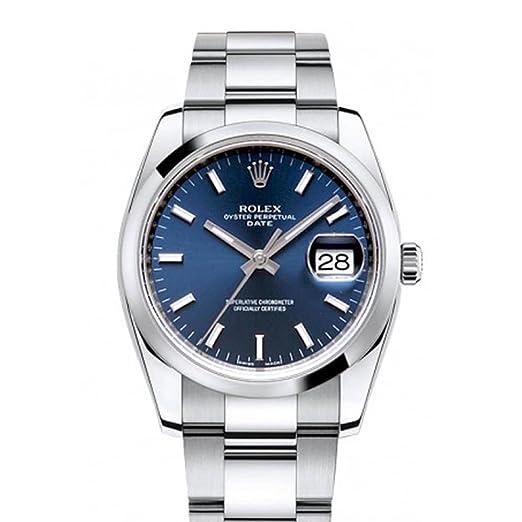 Rolex Fecha 34 mm esfera de color azul de los hombres de acero inoxidable reloj 115200: Amazon.es: Relojes
