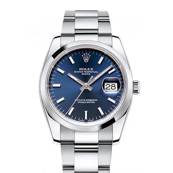 Rolex Fecha 34 mm esfera de color azul de los hombres de acero inoxidable reloj 115200