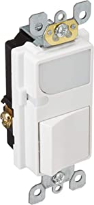Leviton 6526-W 15-Amp 120V AC Combination Decora Switch with LED Guide Light, White