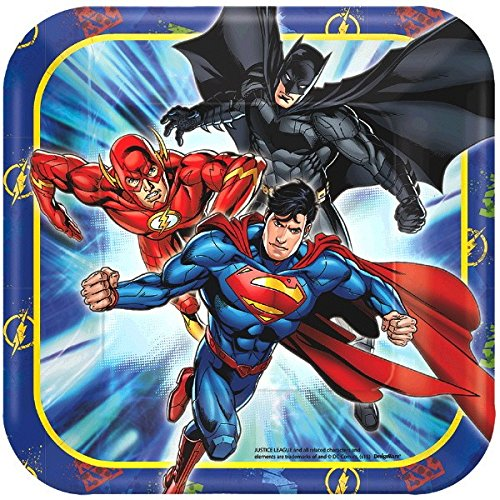 American Greetings Justice League Paper Dessert Plates, 8-Count (Birthday Cake For 15 Year Old Boy)