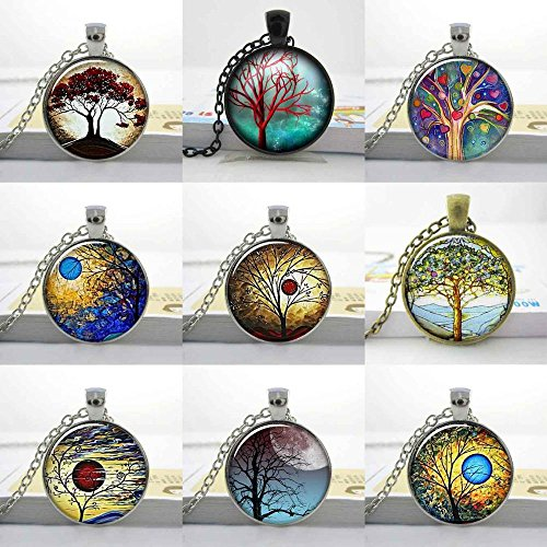 (Pretty Lee New Weeping Willow Eclipse Tree Necklace Sunset Swirls Tree Jewelry Altered Art Photo Tree Of Life Glass Cabochon Necklace )