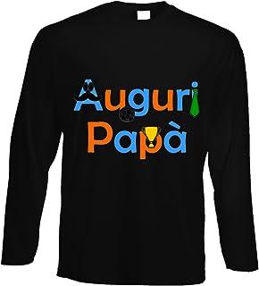fashwork Tshirt a Maniche Lunghe Auguri papà - Festa del papà - Happy Father's Day - in Cotone by