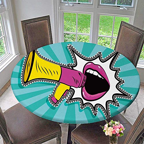 PINAFORE HOME Modern Simple Round Tablecloth Sexy Open Female Mouth and Megaphone Scream Announcement Decoration Washable 31.5