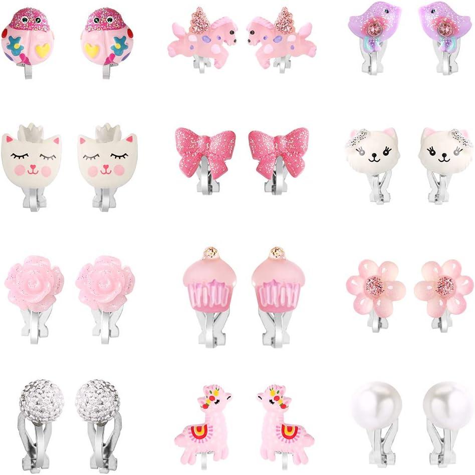 Powerking Aretes para niñas, Aretes con Clip para joyería y Aretes de Vestir de Princesa para niños, 12 Pares, Unicorn Bling