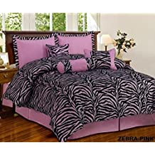 7 Piece Mauve Pink Black Zebra Micro Fur Comforter set Full Size Bedding - Teen, Girl, youth, Tween, Children's Room, Master Bedroom, Guest Room