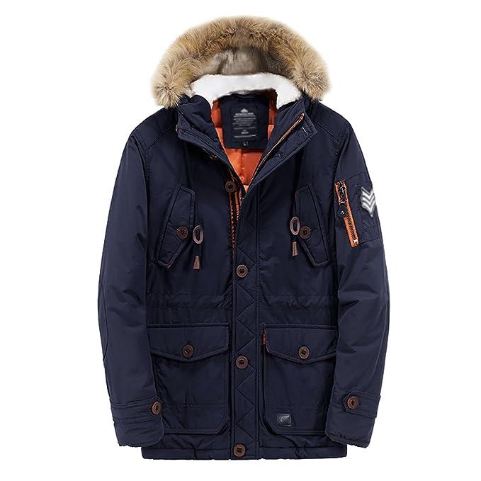 NiSeng Hombre Abrigo Capucha Pelo Chaqueta Parka Militar Jacket Invierno Armada XL: Amazon.es: Ropa y accesorios