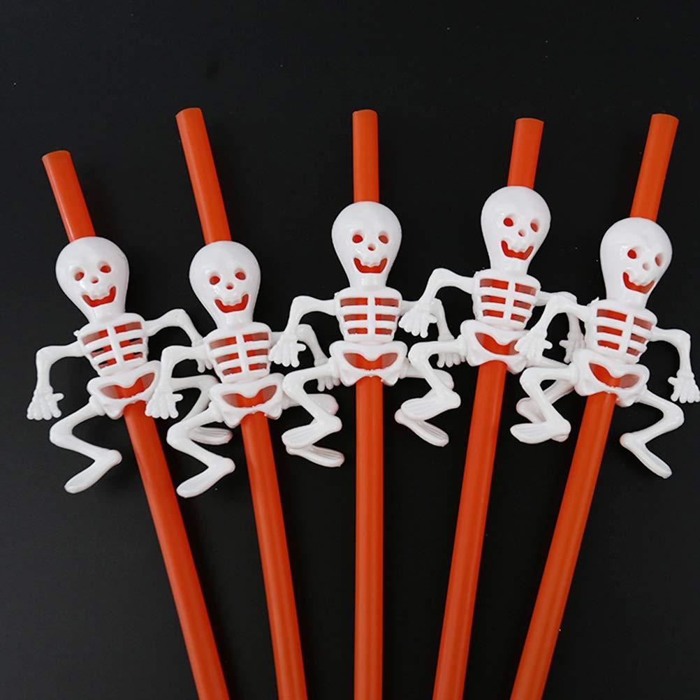 barras de Halloween naranja dise/ño de calabaza para fiestas de Halloween decoraciones KTV 5 unidades fantasma TAIPPAN Pajitas de pl/ástico para Halloween