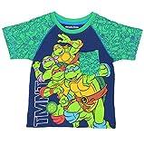 TMNT Teenage Mutant Ninja Turtles Boys Short Sleeve Tee (4T, Blue/Green TMNT)