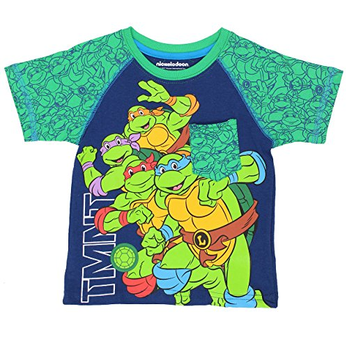 - TMNT Teenage Mutant Ninja Turtles Boys Short Sleeve Tee (4T, Blue/Green TMNT)