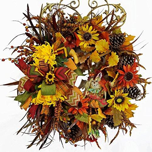 Handmade Fall Harvest Grapevine Wreath, Scarecrow Girl Wreath, Sunflower, Mums, Cattail Swag, Grass Sprays, Pine Cones, Door Hanger, Wall Hanger