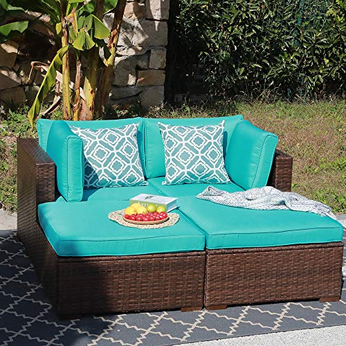OC Orange-Casual 4 Piece Patio Furniture Set Outdoor PE Rattan Wicker Sofa Loveseat Modular Sectional Set & Ottoman with Turquoise Cushions (Modular Rattan)