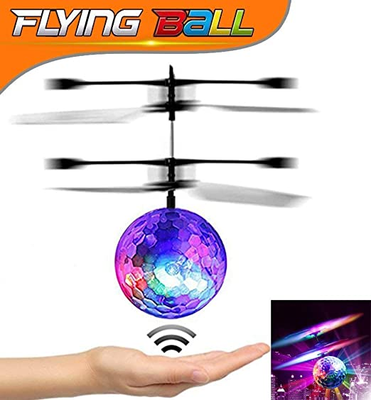 U-miss RC Flying Ball, Crystal Flashing LED Light Flying Ball RC Toy RC Infrared Induction Helicopter for Kids, Teenagers Colorful Flyings for Kid's Toy (Flying Ball)