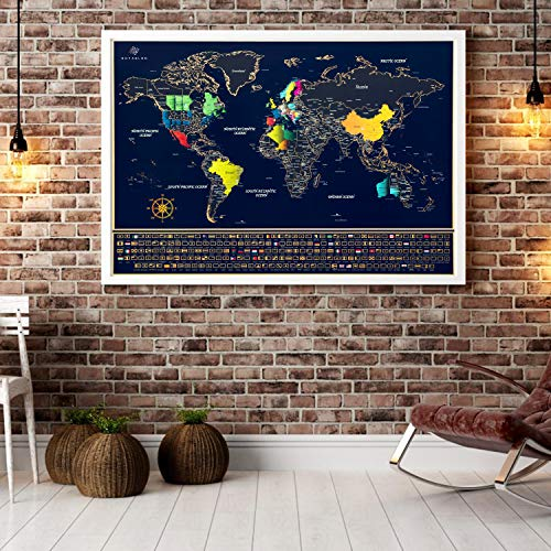 Unique Scratch Off Map of The World - Large Deluxe Personalized Travel Map Poster with B0NUS Scratch Off USA Map - Outlined US States, Landmarks, Roads, Rivers - All Accessories Included - Great GlFT Photo #9