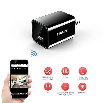 Mini Cámara 1080P HD, Cámara de vigilancia Cargador USB, Cámara Espía Portátil Cámara de