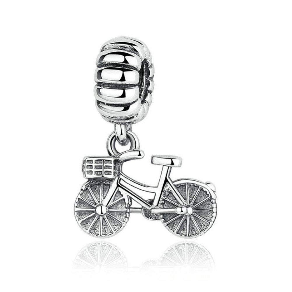 Romántico Amor Bike/Bicycle Charm Love Sport S925 Travel Dangle Beads fit Pandora Bracelet & Necklace