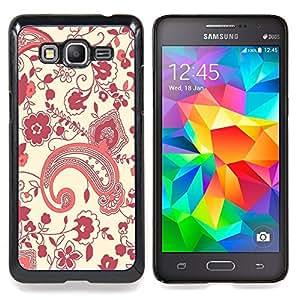Qstar Arte & diseño plástico duro Fundas Cover Cubre Hard Case Cover para Samsung Galaxy Grand Prime G530H / DS (Motif floral rein Art Wallpaper Violet Rouge)