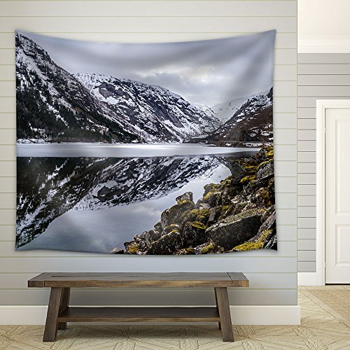 Frozen Lake Among Snow Covered Mountains Fabric Wall Tapestry