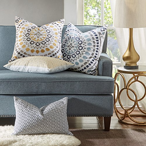 MADISON PARK SIGNATURE Grace Cotton Embroidered Modern Feather Down Throw Pillow, Contemporary Medallion Square Fashion Decorative Pillow, 20X20, Indigo