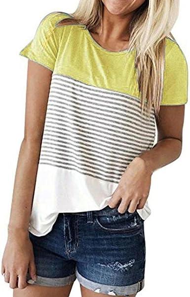 OHQ Camiseta Tops para Mujer De Manga Corta con Rayas a Rayas Tops Manga Larga Tapas Ocasionales Mujeres Moda Tops Blusa Floja Algodon TamañO Grande Suave CóModo Y Elegante: Amazon.es: Ropa y