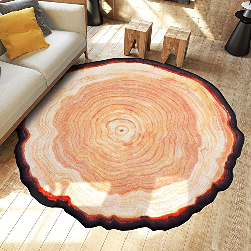 MAXYOYO Personality Creative Old Tree Rings Round Carpet Rug Diameter 59 Inch Polyester Circuits of Growth Rings Anti Slip Bedroom Living Room Area Rug