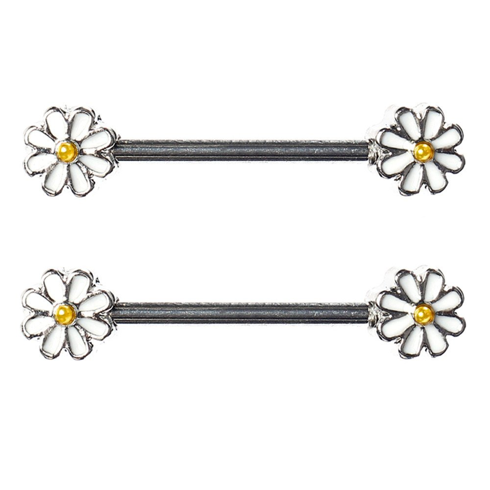 BODYA Pair Cute Double Enamel Spring Daisy Flower Nipple Barbell Ring Piercing Bar Stainless Steel 14G JW3358X2