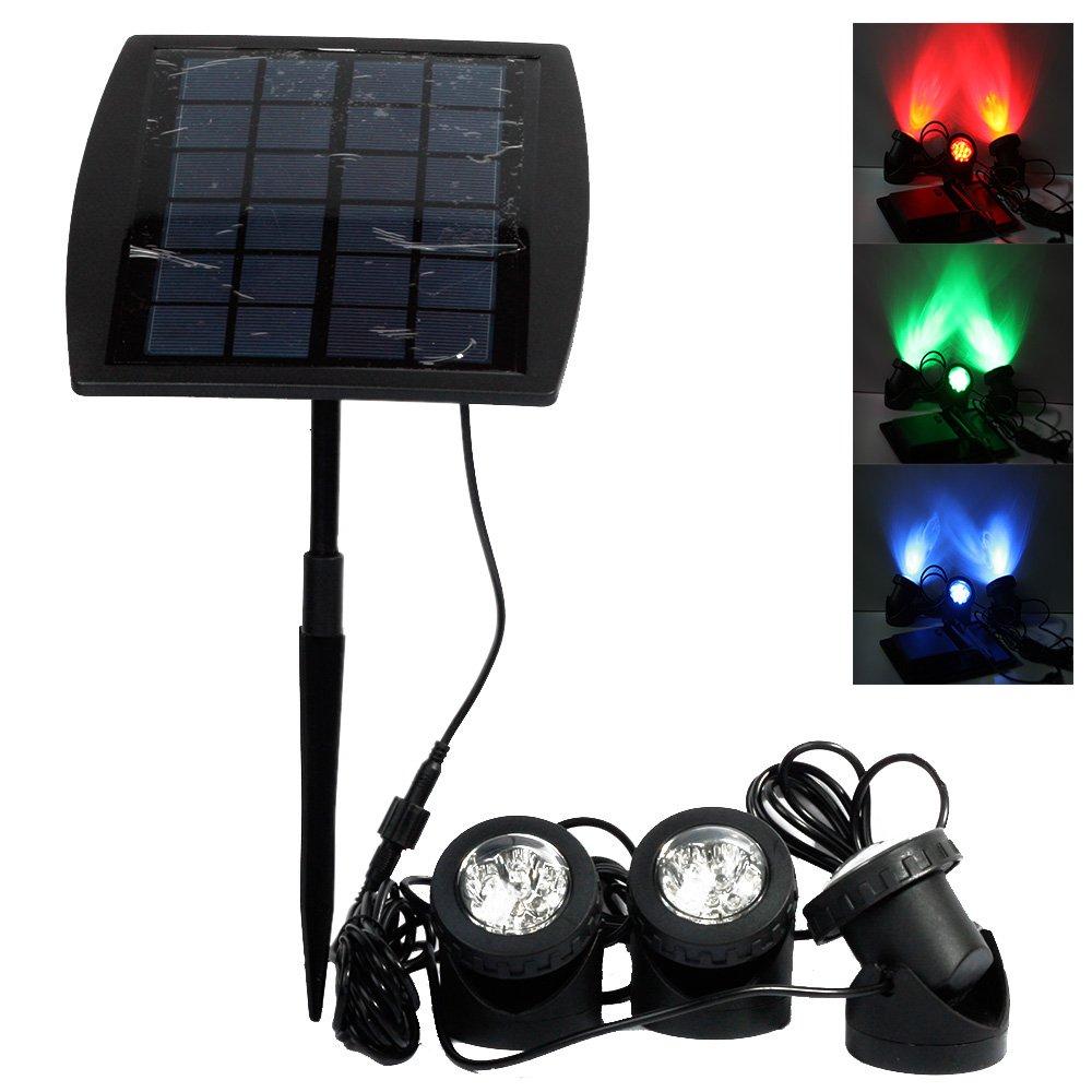 LVJING Solar Light Outdoor Sensor, RGB Color Changing LED ...