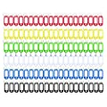 Key Tag 120 Pcs Assorted Color Plastic Coded Key Id Label Tags Split Ring Keyring With Label Window Ring Holder